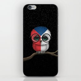Baby Owl with Glasses and Czech Flag iPhone Skin