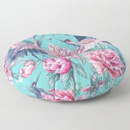 Teal peonies and birds Floor Pillow
