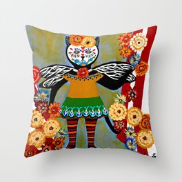 Day of the Dead Circus Kitty Throw Pillow