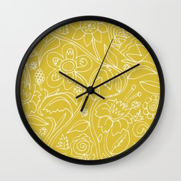 Garden Floral Drawing on Yellow Wall Clock