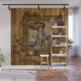 Awesome steampunk women with owl Wall Mural