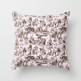 Alice in Wonderland | Toile de Jouy | Brown and Pink Throw Pillow