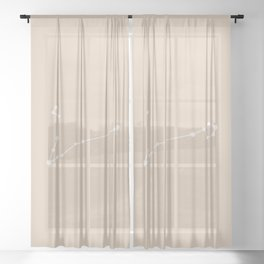 Pisces Zodiac Constellation - Warm Neutral Sheer Curtain