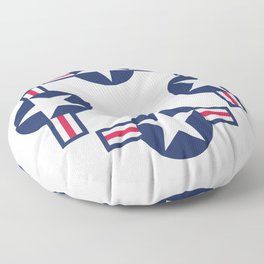 US Airforce style roundel star - High Quality image Floor Pillow