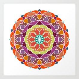 Flame mandala fractal design Art Print