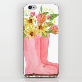 Pink rain boots with flowers iPhone Skin