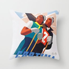 Cortina d'Ampezzo - Vintage Italian Ski Poster Throw Pillow