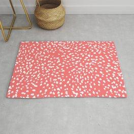 Claudia - abstract minimal coral dot polka dots painterly brushstrokes Rug