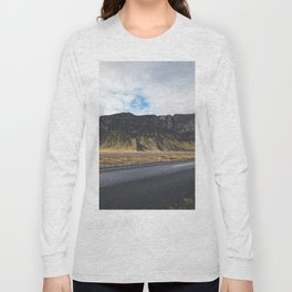 A Mountain on the Left. Iceland Landscape. Roadtrip Travel. Photography. Long Sleeve T-shirt
