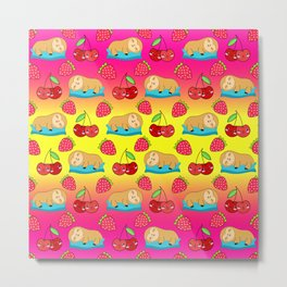Cute funny sweet adorable little sleeping baby sloths, little cherries and red ripe summer strawberries cartoon fantasy bright sunny yellow pink pattern design Metal Print