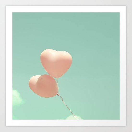 Deep Love, Pink heart balloons on soft blue sky Art Print