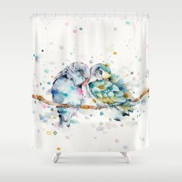 Mr & Mrs Snugglepots [pacific parrotlets] Shower Curtain