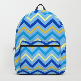 Hanukkah Contemporary Zig Zag Blue and Gold Pattern Backpack