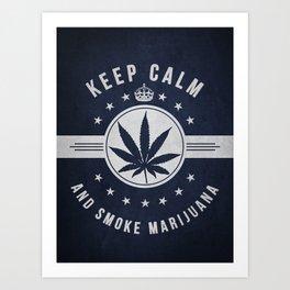 Keep calm and smoke marijuana - Navy Blue Art Print