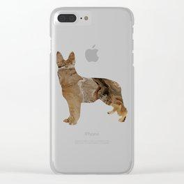 German Shepherd Dog Image - Abstract Fluid Art Brown Clear iPhone Case