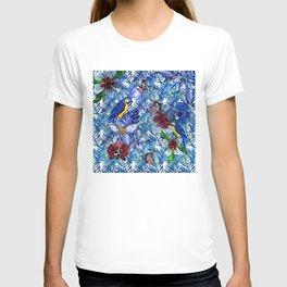 Aloha - Tropical blue Palm Leaf Flower and Bird Pattern T-shirt