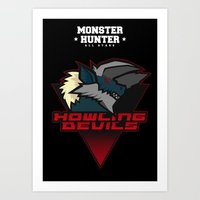 monster hunter Art Prints featuring Monster Hunter All Stars - Howling Devils by Bleached ink