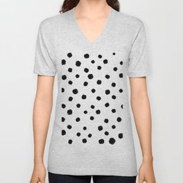 Hand-Drawn Dots (Black & White Pattern) Unisex V-Neck