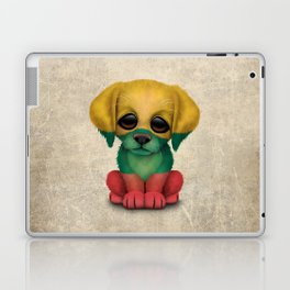 Cute Puppy Dog with flag of Lithuania Laptop & iPad Skin