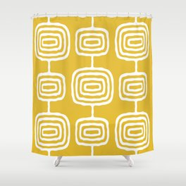 Mid Century Modern Atomic Rings Pattern 771 Mustard Yellow Shower Curtain