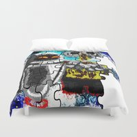 wall e Duvet Covers featuring Puzzle me Wall-e  by grapeloverarts