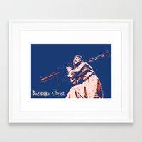 christ Framed Art Prints featuring Bazooka Christ by lensebender