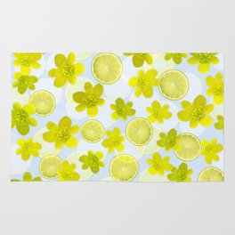 Lime and flowers Rug