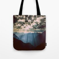 mountains Tote Bags featuring mountainS Dark Sunset by 2sweet4words Designs