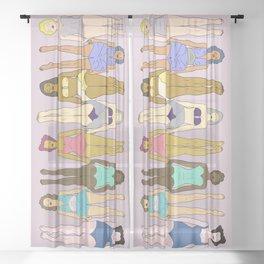 Sunbathers - Retro Female Swimmers Sheer Curtain