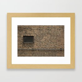 Brick Wall with Conduit and Window Framed Art Print