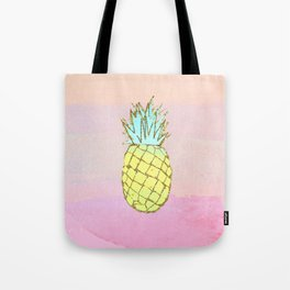 Pineapple Watercolor Tropical Beach Pink Peach Tote Bag