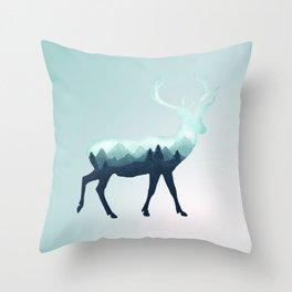 Deer Stag Elk Roe Fawn Moose Double Exposure Surreal Wildlife Animal Throw Pillow
