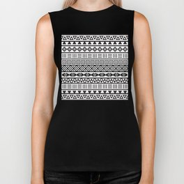 Aztec Influence Pattern Black on White Biker Tank