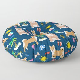Shiba Inu summer beach vacation dog gifts pure breed pet portrait pattern Floor Pillow