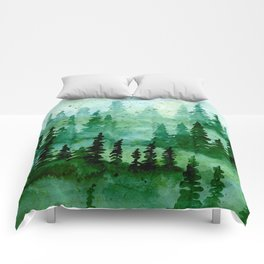 Deep in the pine woods Comforters