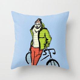 Biker boy Throw Pillow