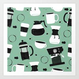 Do you even coffee? (teal) Art Print