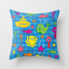 Silly Sea Creatures Throw Pillow