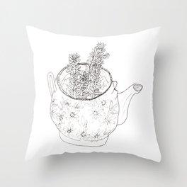 Succulents in teapot Throw Pillow