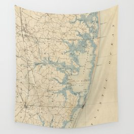 Vintage Map of Ocean City Maryland (1900) Wall Tapestry