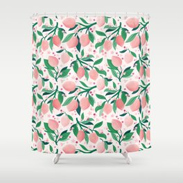 Lemon Mimosa Coral  Shower Curtain