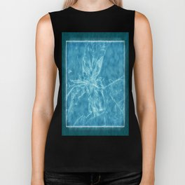 Pale Yellow Poinsettia 1 Outlined Blue Biker Tank