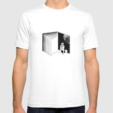 Reading is Dreaming with Your Eyes Open MEDIUM White Mens Fitted Tee