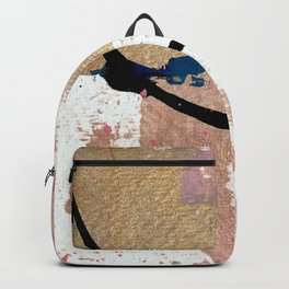 01014: pink, gold, and white abstract Backpack