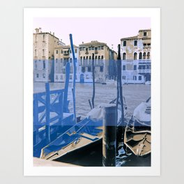 venice black and white and color Art Print