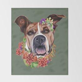 Flower power puppy Throw Blanket