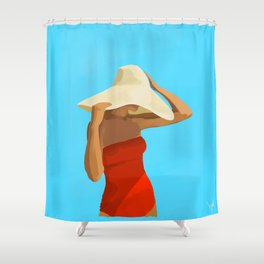 At The Beach: Red Suit Shower Curtain
