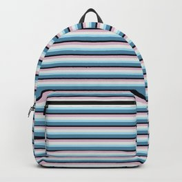 Classic Vintage Horizontal Stripes in Cool and Pretty Modern Dark Blue, Light Blue, Pink and White Backpack