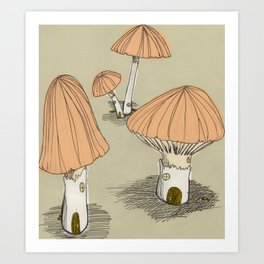 Mushroom Houses Art Print