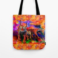 tigers Tote Bags featuring Psychedelic Tigers by JT Digital Art